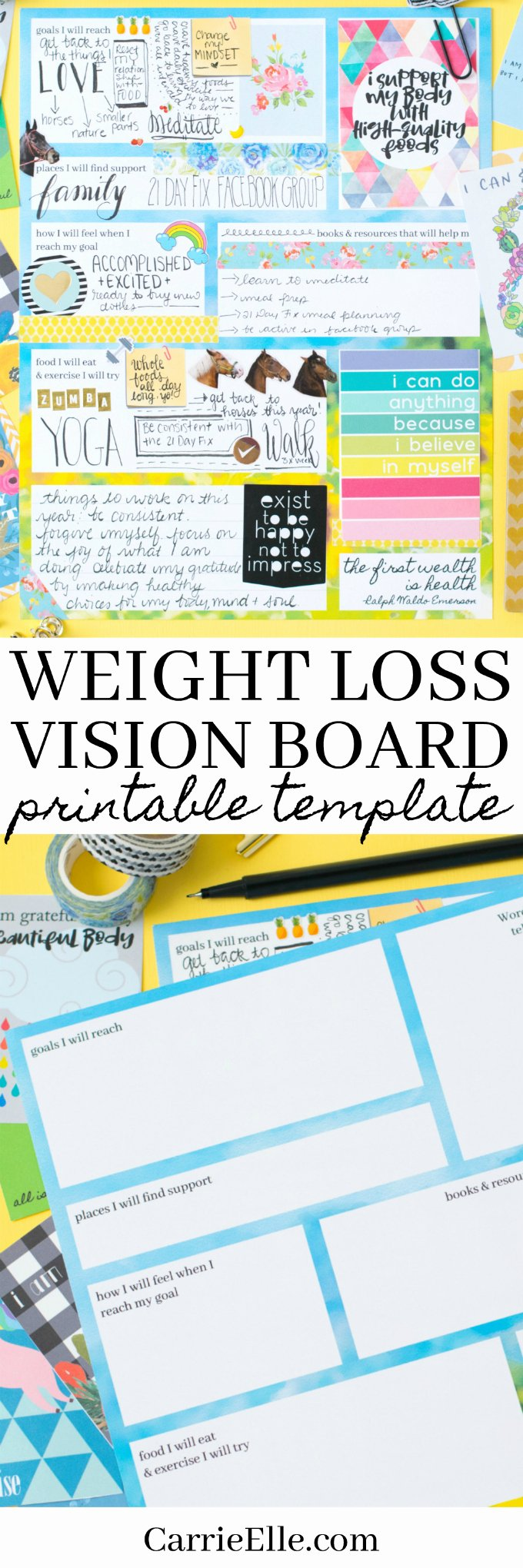 Printable Vision Board Template Fresh Printable Weight Loss Vision Board Template Carrie Elle