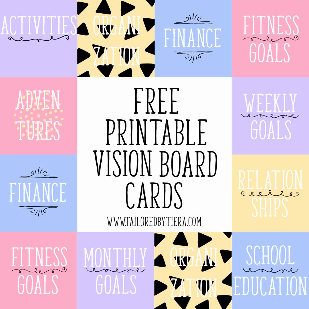 Printable Vision Board Template Fresh Vision Board Cards Setting and Maintaining Goals