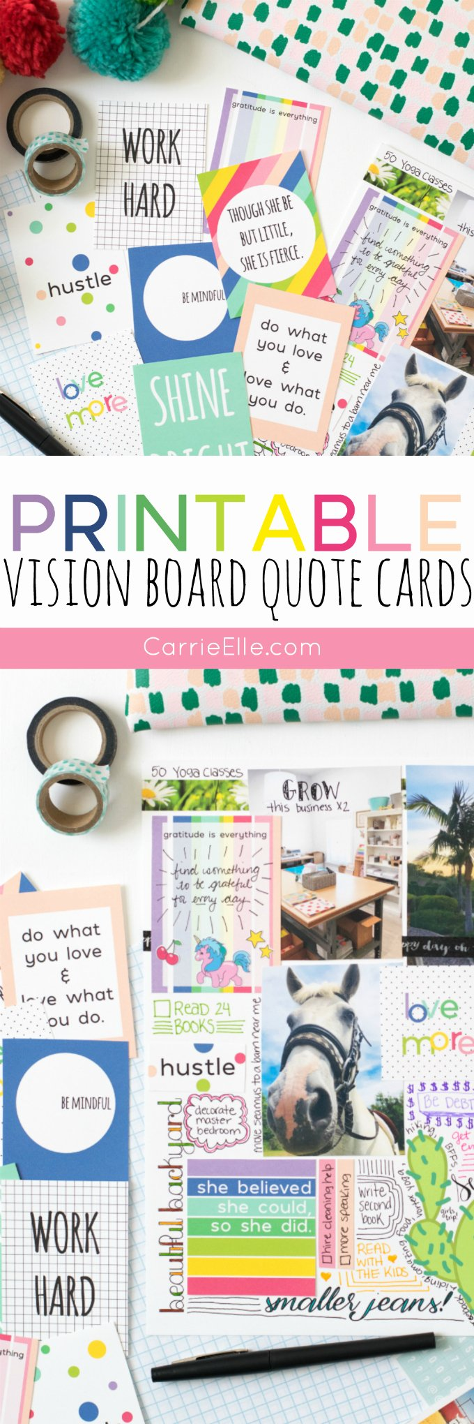 Printable Vision Board Template Inspirational Vision Board Printable Quote Cards Carrie Elle