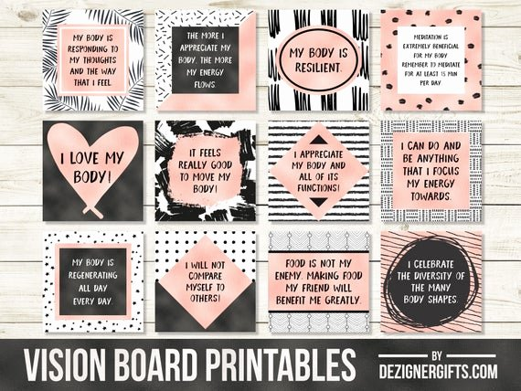 Printable Vision Board Template Lovely Vision Board Printables Positive Body Quotes Affirmation
