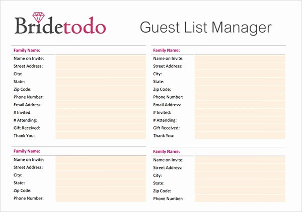 Printable Wedding Guest Lists Awesome 17 Wedding Guest List Templates Pdf Word Excel