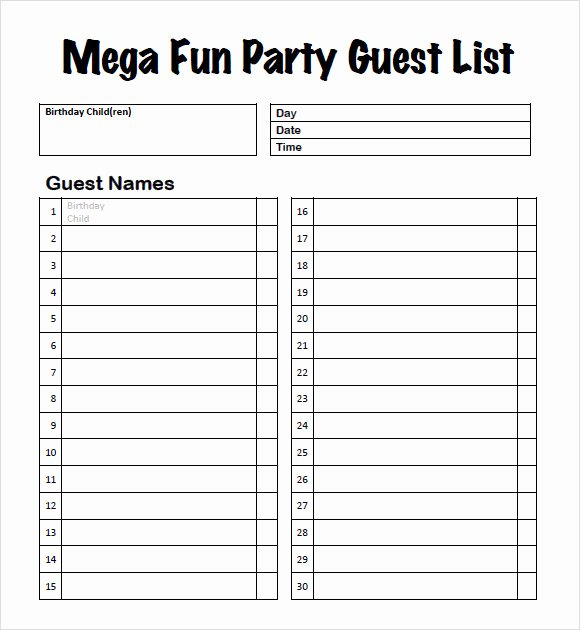 Printable Wedding Guest Lists Beautiful 9 Guest List Samples