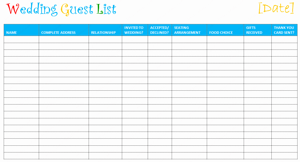 Printable Wedding Guest Lists Beautiful Free Editable Wedding Guest List Templates – Document