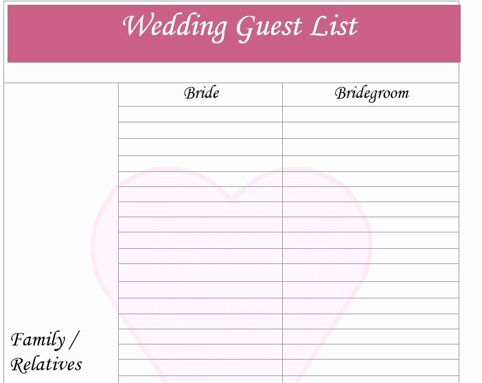 Printable Wedding Guest Lists Best Of 30 Free Wedding Guest List Templates Templatehub