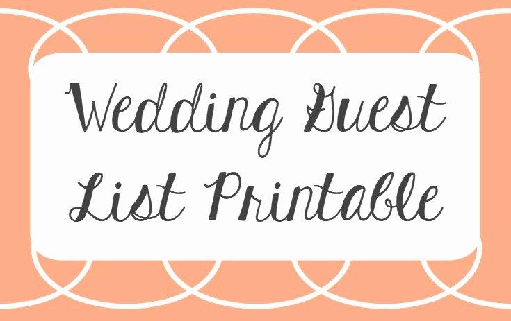 Printable Wedding Guest Lists Best Of Wedding Guest List Printable