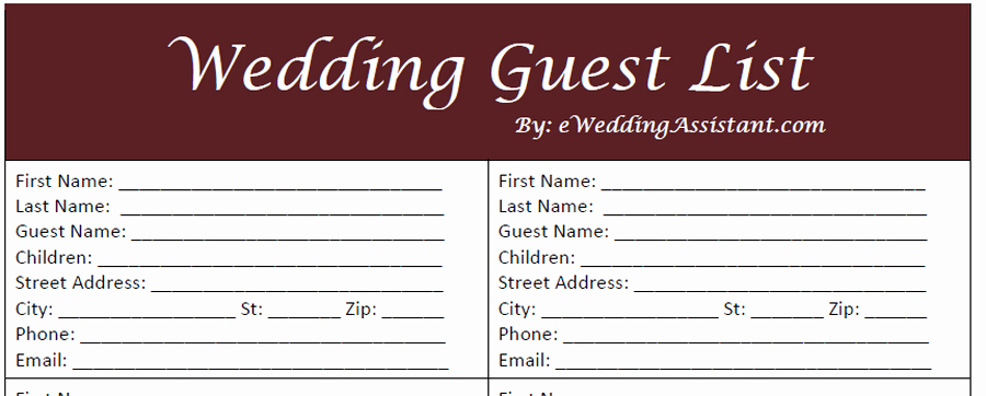 Printable Wedding Guest Lists Elegant 17 Wedding Guest List Templates Excel Pdf formats