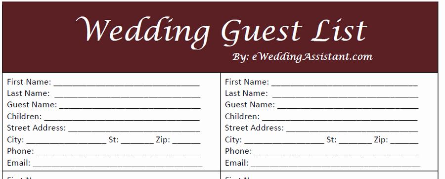 Printable Wedding Guest Lists Elegant 17 Wedding Guest List Templates Excel Pdf formats
