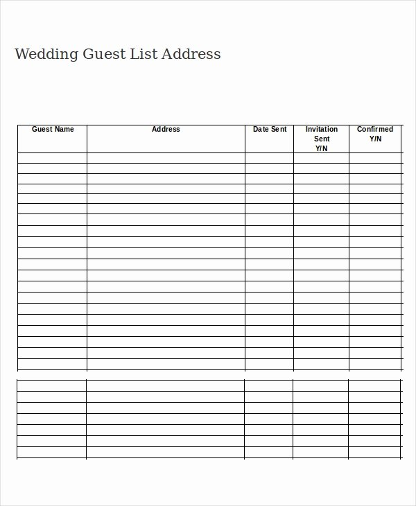 Printable Wedding Guest Lists Fresh Wedding Guest List Template 9 Free Word Excel Pdf