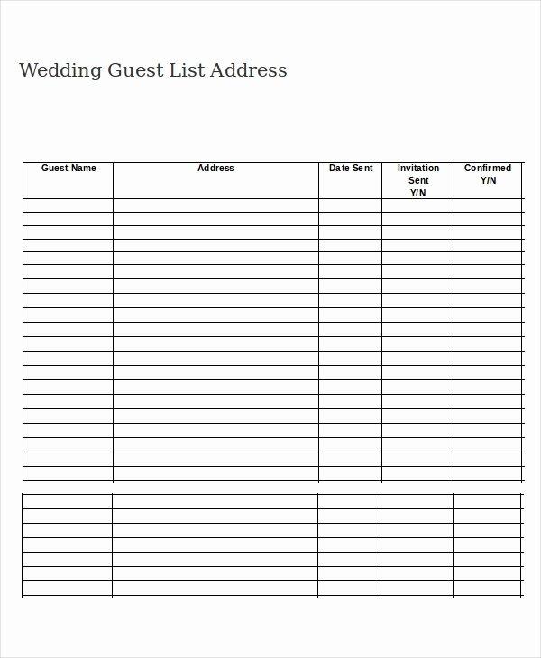 Printable Wedding Guest Lists Fresh Wedding Guest List Template 9 Free Word Excel Pdf