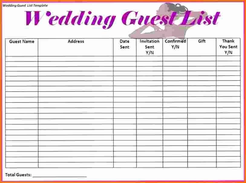 Printable Wedding Guest Lists Fresh Wedding Guest List Worksheet Printable the Best Worksheets