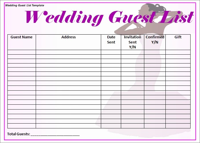 Printable Wedding Guest Lists Inspirational Wedding Guest List Template 6 Free Sample Example