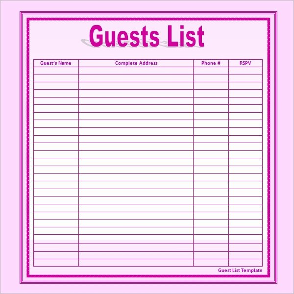 Printable Wedding Guest Lists Lovely 17 Wedding Guest List Templates Pdf Word Excel