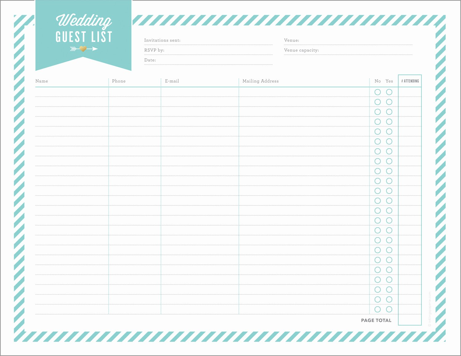 Printable Wedding Guest Lists Lovely Free Wedding Planning Printables & Checklists
