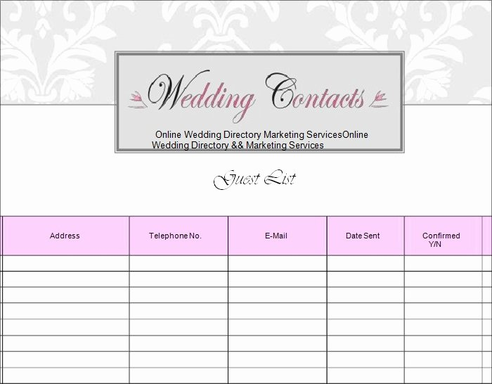 Printable Wedding Guest Lists Lovely Wedding Guest List Template 6 Free Sample Example