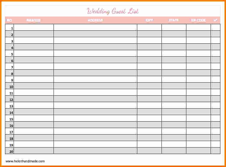Printable Wedding Guest Lists Luxury 30 Of Guest List Template Printable Blank