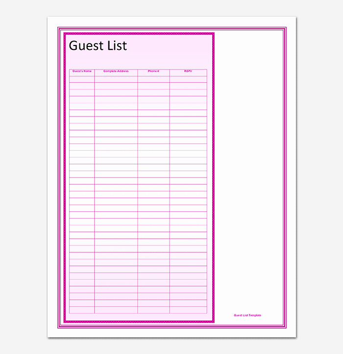Printable Wedding Guest Lists Luxury Guest List Template 22 for Word Excel Pdf format