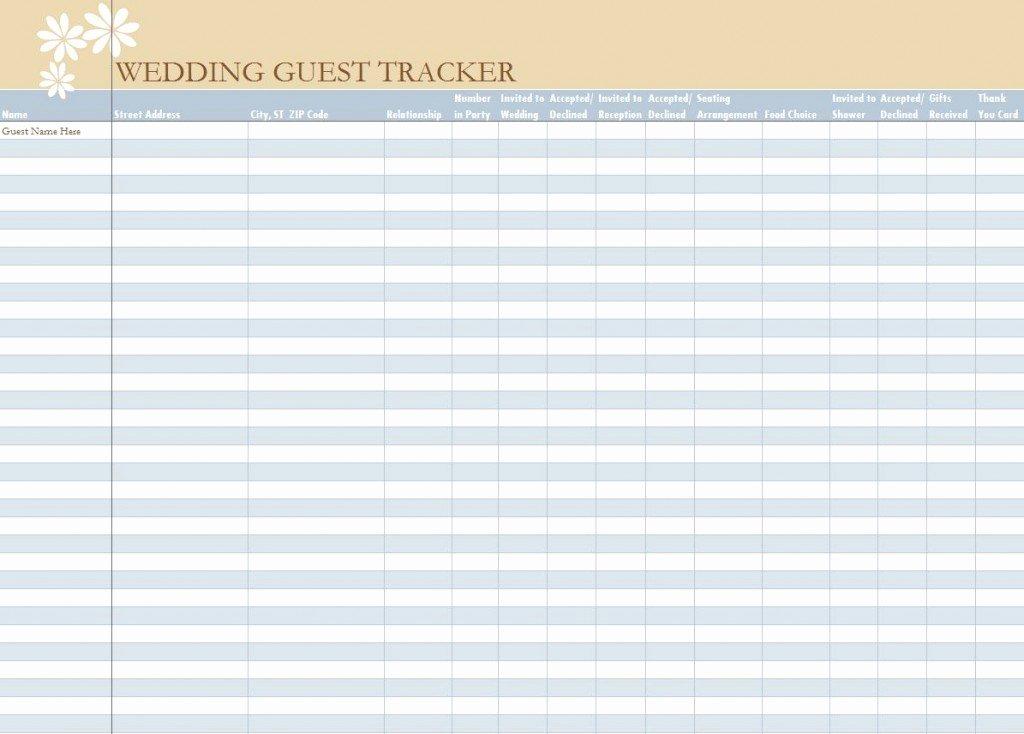 Printable Wedding Guest Lists New Wedding Guest List Spreadsheet