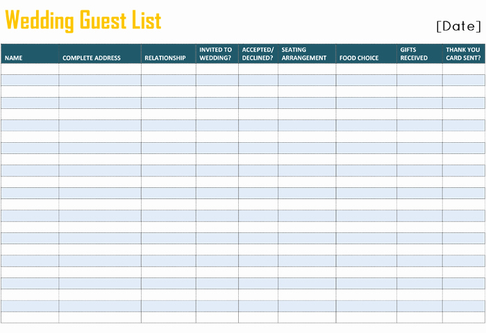 Printable Wedding Guest Lists Unique Free Printable List Templates
