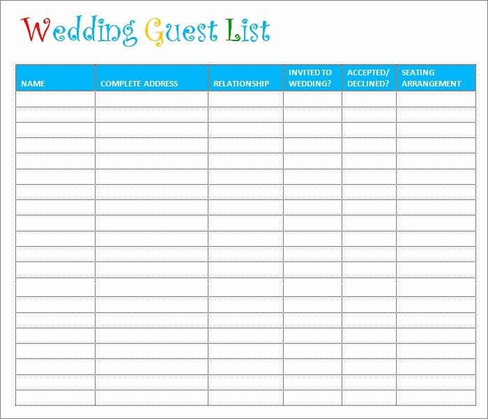 Printable Wedding Guest Lists Unique Wedding Guest List Template 6 Free Sample Example