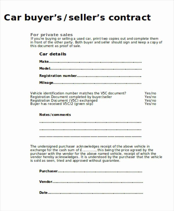Private Car Sales Contract Luxury Sample Car Sales Contract 12 Examples In Word Pdf