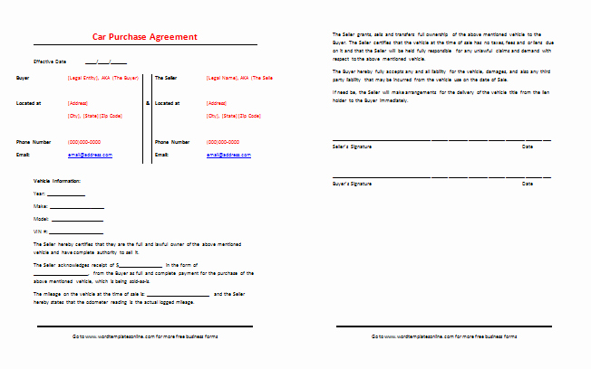 Private Sale Car Payment Agreement Inspirational Car Purchase Agreement Template Best Samples