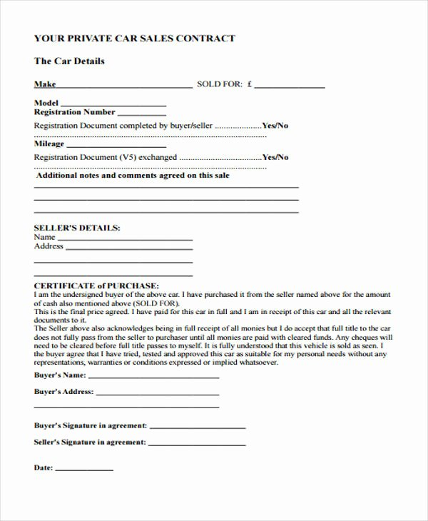 Private Sale Car Payment Agreement Lovely 29 Sample Sales Agreement form