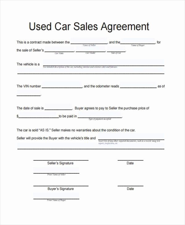 Private Sale Car Payment Agreement Lovely Contract forms In Pdf