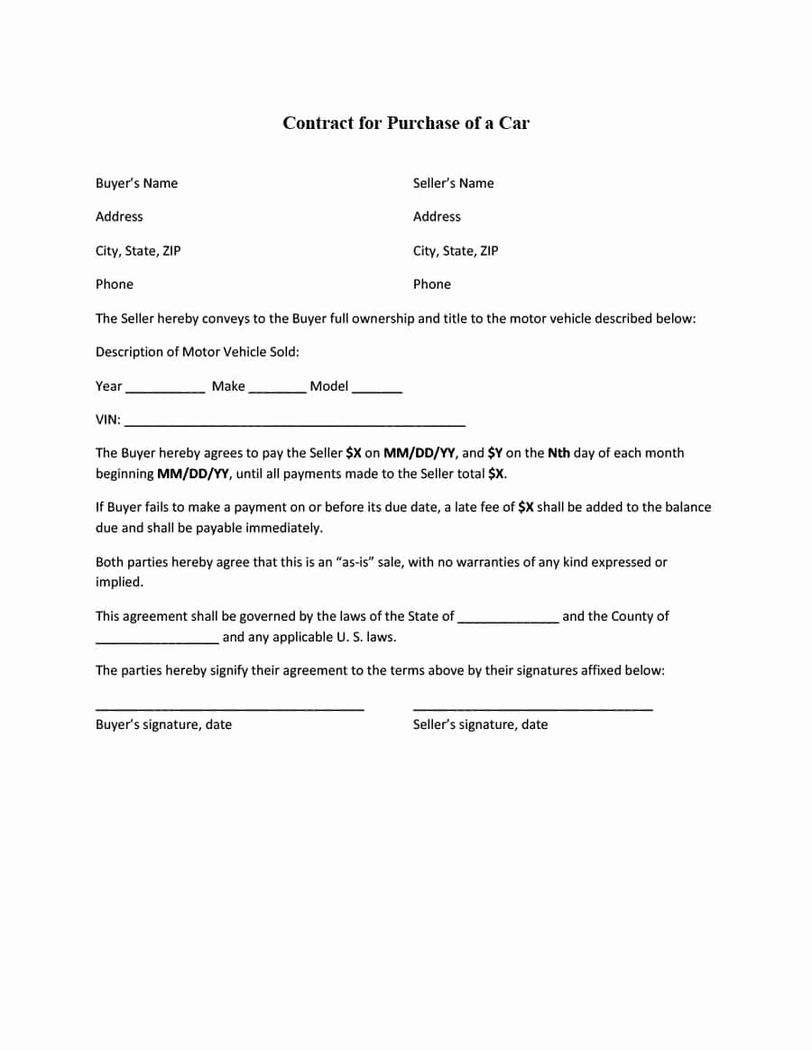 Private Sale Car Payment Agreement New 42 Printable Vehicle Purchase Agreement Templates