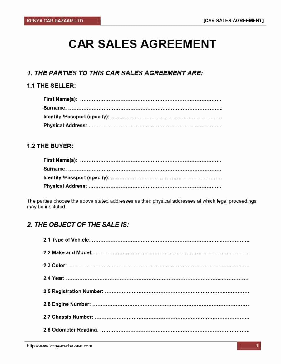 Private Sale Car Payment Agreement Unique Car Resale Agreement format Detail Purchase and Sales