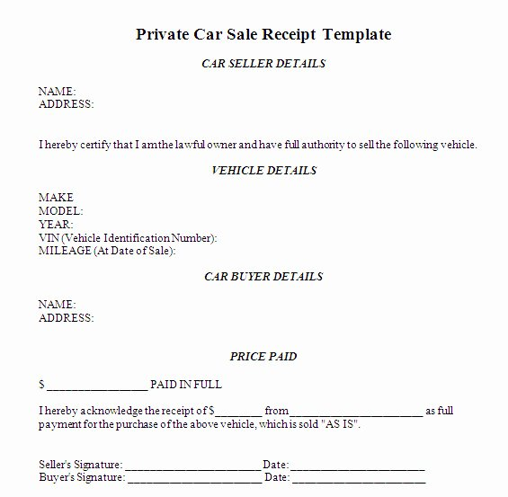 Private Sale Car Payment Agreement Unique Receipt Of Sale for A Car