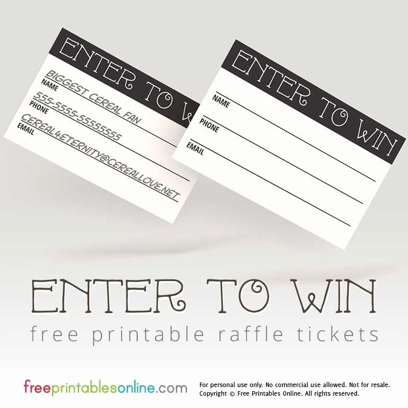 Prize Drawing Template New Enter to Win Printable Raffle Tickets