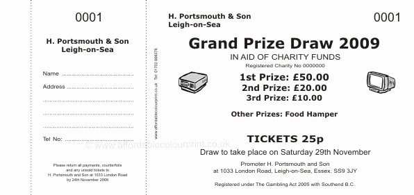 Prize Drawing Template Unique Raffle Ticket 001 Charity