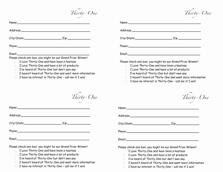 Prize Drawing Template Unique Thirty E Door Prize form Drawing Slips 4 Per Page