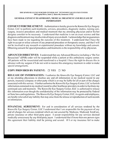 Procedure Consent form Best Of Information for Patients Tennessee Valley Eye Center