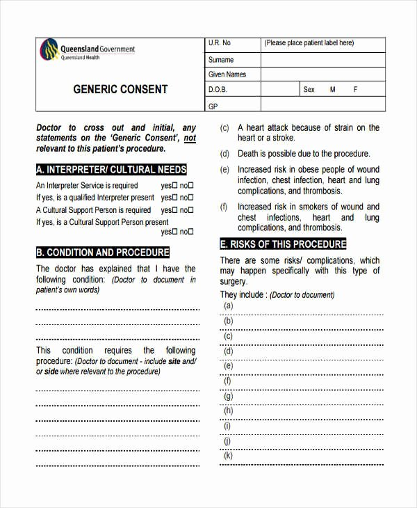 Procedure Consent form Inspirational 22 Free Medical Consent forms