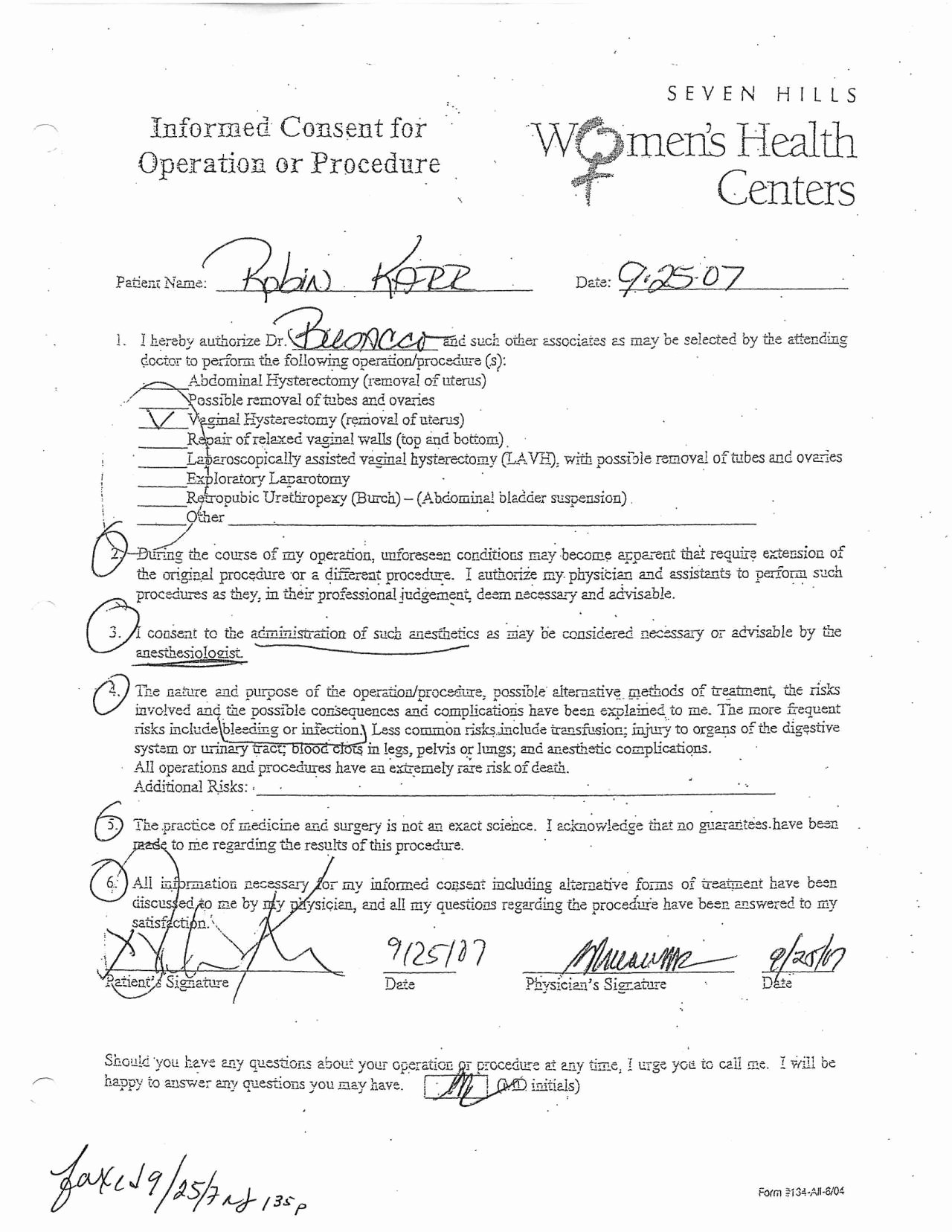 Procedure Consent form New No Midazolam 2012