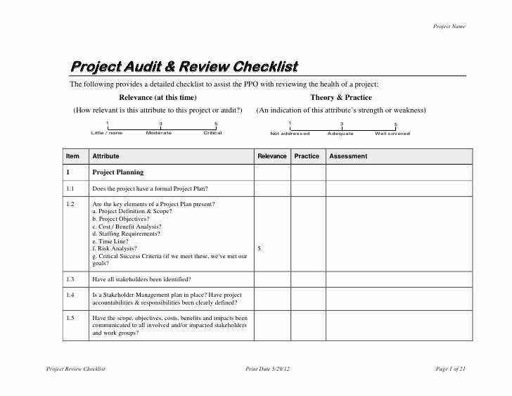 Process Audit Template Best Of Project Audit & Review Checklist
