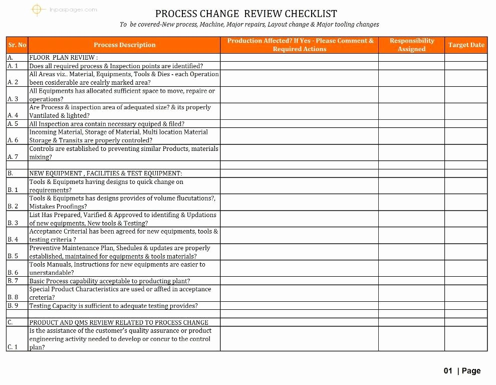 Process Audit Template Lovely Internal Audit Checklist for Manufacturing Pany Excel