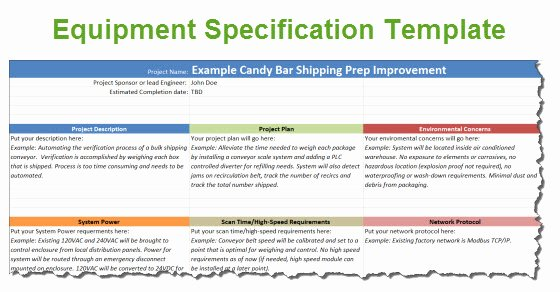 Product Spec Sheet Template Beautiful Equipment Specification Template for Automation Projects