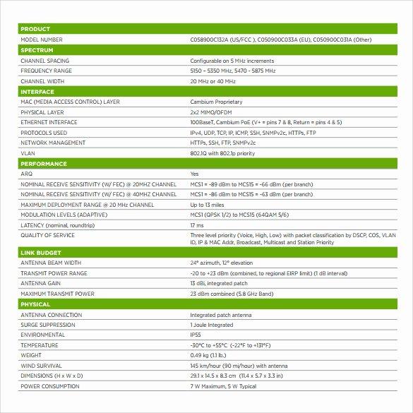 Product Spec Sheet Template Elegant 11 Spec Sheet Samples