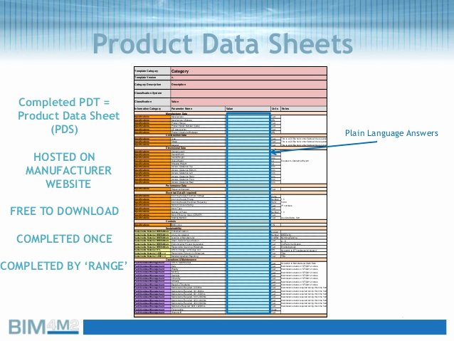 Product Spec Sheet Template Luxury Product Data Templates Pdts and Cobie Bim4m2help