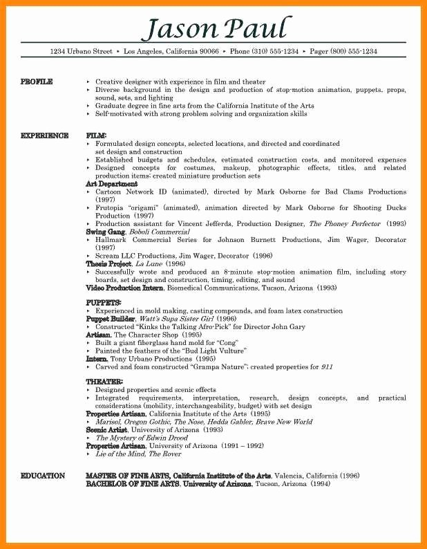Production assistant Resume Examples Elegant 11 12 Production assistant Resume Examples