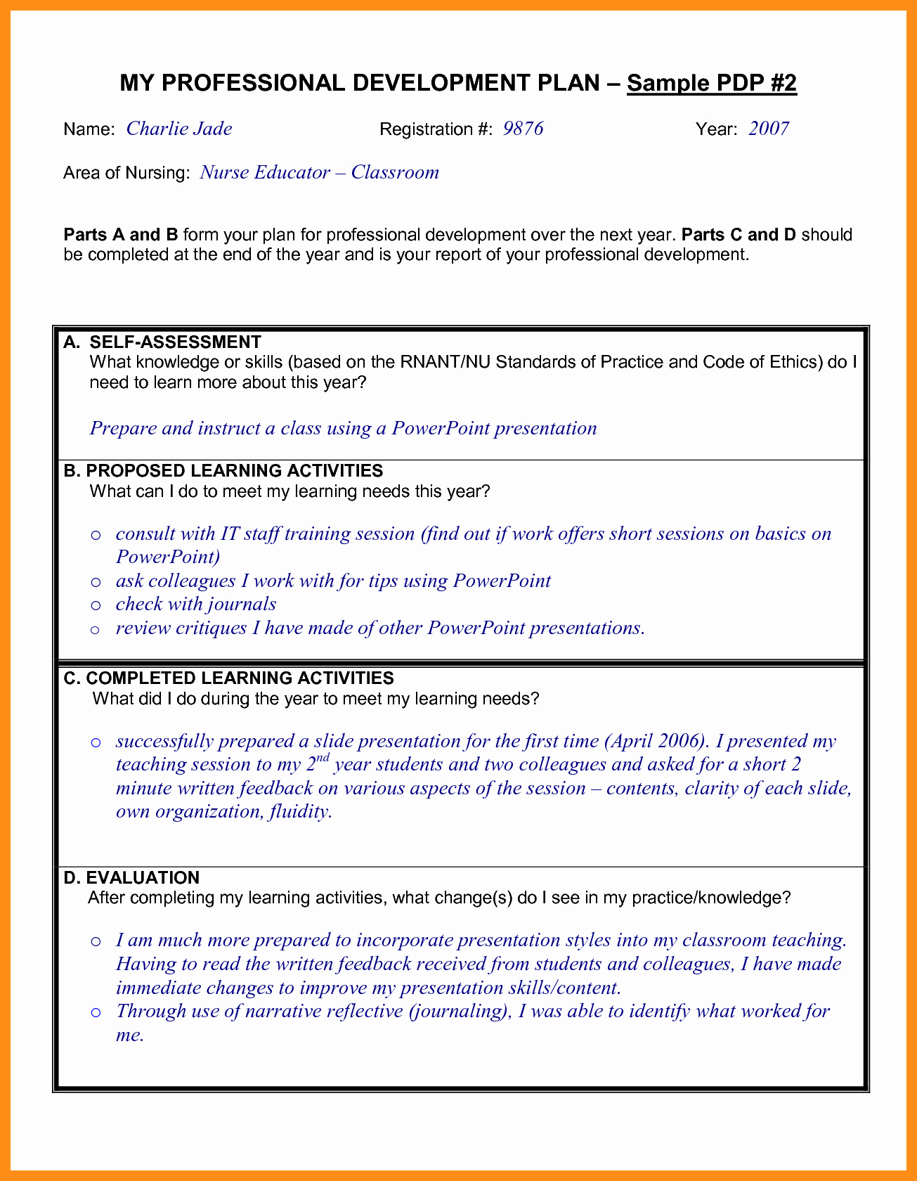 Professional Development Plan for Teachers Examples Elegant 9 10 Professional Development Plans Examples