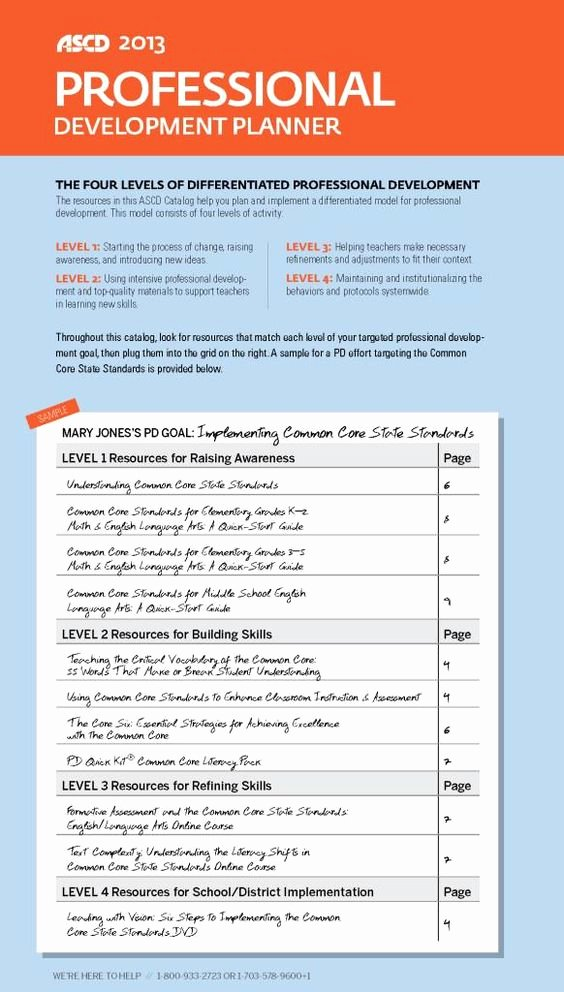 Professional Development Plan for Teachers Examples Elegant ascd 2013 Professional Development Planner