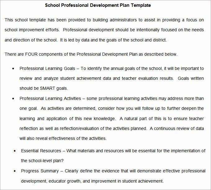 Professional Development Plan for Teachers Examples Luxury School Development Plan 9 Free Word Google Docs Pages