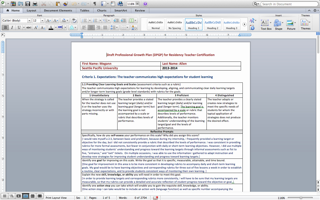Professional Development Plan for Teachers Examples New Megann Allen Bportfolio