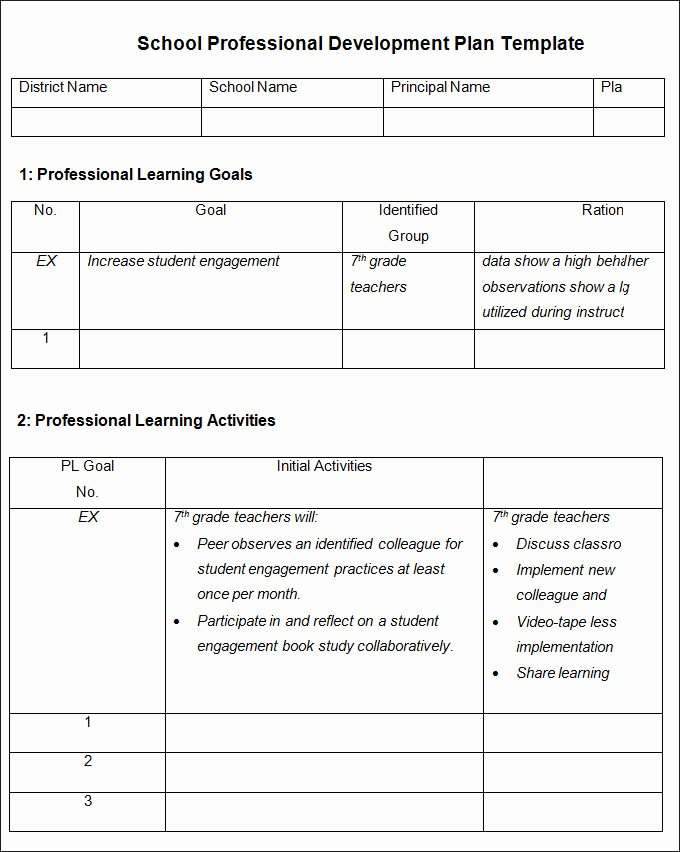 Professional Development Plan for Teachers Template New Professional Development Plan Template Free Word