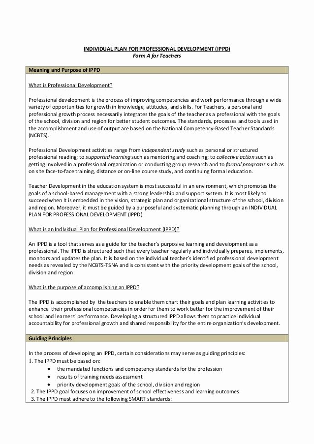 Professional Development Plan Sample for Teachers Beautiful Ippd for Teachers