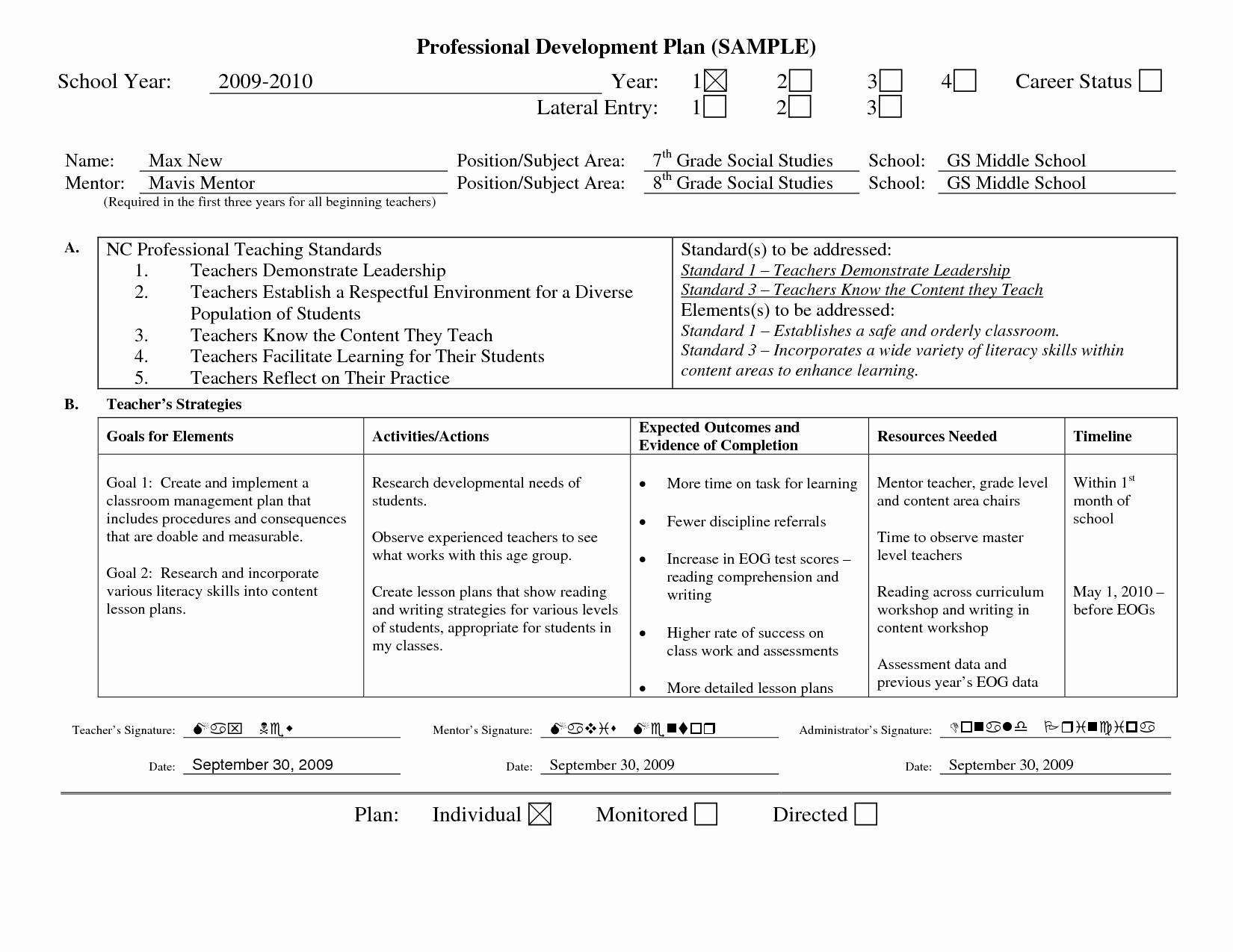 Professional Development Plan Sample for Teachers Fresh Professional Learning Plan Examples Google Search