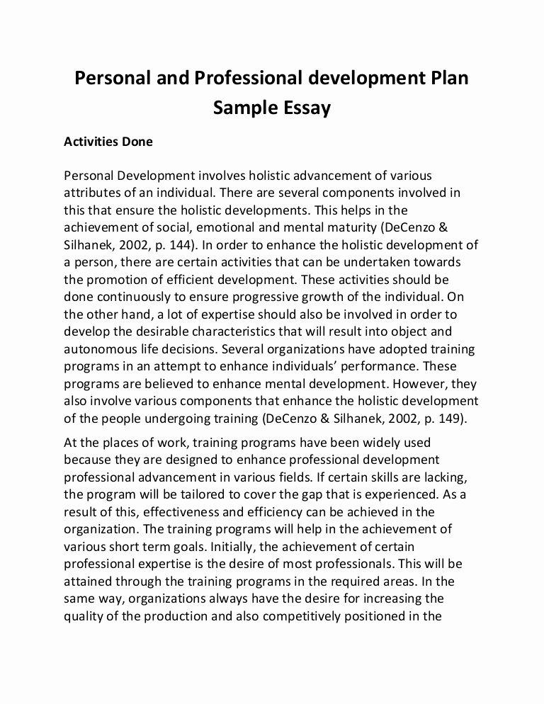 Professional Development Plan Sample for Teachers Luxury Personal and Professional Development Plan Sample Essay